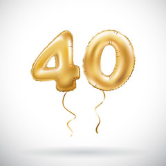 vector Golden number 40 forty metallic balloon. Party decoration golden balloons. Anniversary sign for happy holiday, celebration, birthday, carnival, new year.