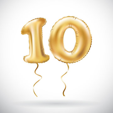 vector Golden number 10 ten metallic balloon. Party decoration golden balloons. Anniversary sign for happy holiday, celebration, birthday, carnival, new year.