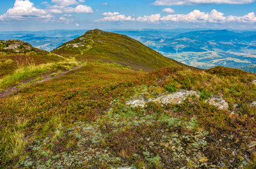 rocks and footpath on high mountain meadow