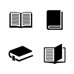Books. Simple Related Vector Icons Set for Video, Mobile Apps, Web Sites, Print Projects and Your Design. Black Flat Illustration on White Background.