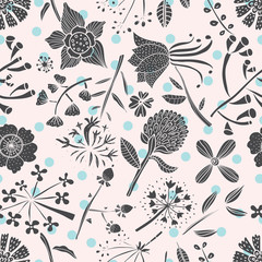 Seamless pattern with botanical flowers.
