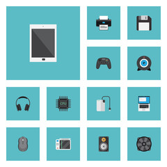 Flat Icons Cooler, Computer Mouse, Palmtop And Other Vector Elements. Set Of PC Flat Icons Symbols Also Includes Megaphone, Phone, Machine Objects.