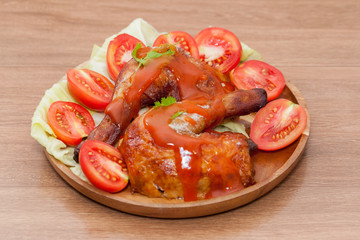 roast wing chicken with sauce