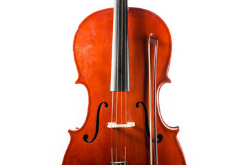 Old cello from which a fragment is seen