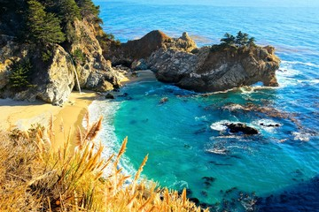 Beautiful McWay Falls along the Pacific Coast Highway, Big Sur, California, USA