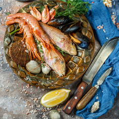 Image of fish, shrimp, shellfish