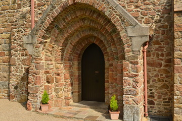 Gothic arch, Jersey, U.K. Medieval doorway of St Lawrence Church.
