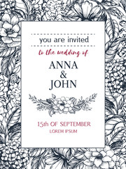 Wedding invitation of hand drawn flower in sketch style.  Vector floral frame can be use for greeting card, template, invitation