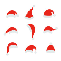 Santa christmas hat vector illustration. Red santa top hat isolated on white background
