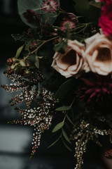 Romantic pink and dark red fall wedding bouquet inspiration
