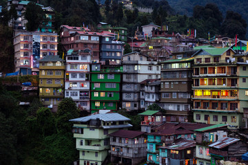 Evening at a small hill station in Sikkim