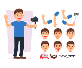 Set cute blogger team. Vector illustration blogger set for animation. Creator character