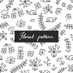 Seamless pattern with small plants and flowers. Hand drawing. Linear pattern for the design