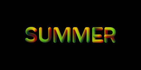3d gradient Summer season sign