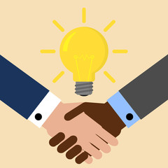 Two businessmen shake hands for a deal, light bulb. Business idea concept. Vector illustration
