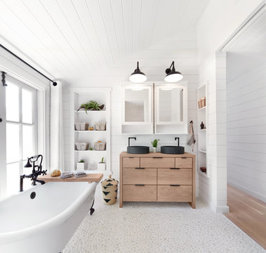 Rustic modern farmhouse bathroom in small cottage