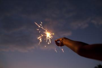 Indian teenage girl enjoying to make fun with firecrackers