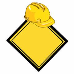 Yellow helmet and yellow banner