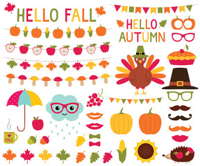 Fall design elements and photo booth props set