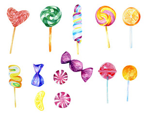 Watercolor candy collection, food collection, sweets, lollipop, hand painted clip art, Birthday card, bridal shower, baby shower, thank you cards