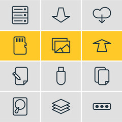 Vector Illustration Of 12 Archive Icons. Editable Pack Of Database, Cloud, Memory And Other Elements.