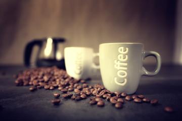 Door stickers Coffee beans cafetière avec tasse et grains de café