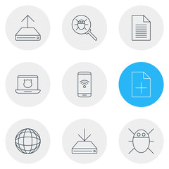 Vector Illustration Of 9 Network Icons. Editable Pack Of Document Adding, Secure Laptop, Hdd Sync And Other Elements.
