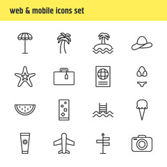 Vector Illustration Of 16 Season Icons. Editable Pack Of Sorbet, Island , Suitcase Elements.