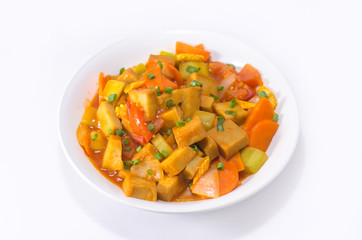 Tofu with sweet and sour sauce