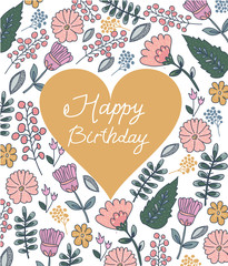 Colorful floral pattern with a heart on a white background and an inscription with a happy birthday