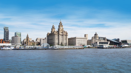 Liverpool waterfront buildings including Royal Liver Building and cruise terminal