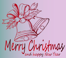 Christmas greeting card-Christmas bell-beautiful New Year's decoration.