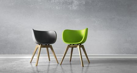 2 Stühle - Diskussion Fototapete
