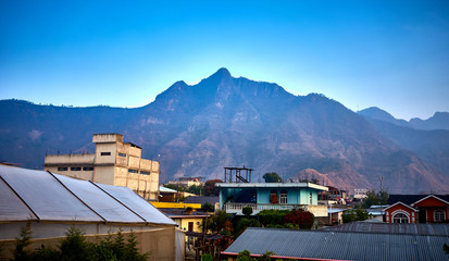 """Volcanic highlands of Atitlan in Guatemala  / This Mountain is called """"Face of a sleeping Mayan"""" and is between San Juan and Santa Clara at Lake Atitlan - It is part of the rim of a giant Volcano"""
