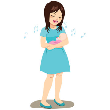 Beautiful brunette young mom rocking and singing baby lullaby