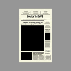 Vector - Vintage newspaper journal vector template. Paper tabloid on newsprint, reportage information vector illustration