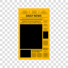 Vector - Vintage newspaper journal vector template. Paper tabloid on newsprint, reportage information vector illustration. Transparent background
