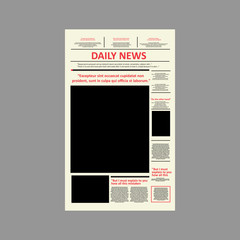 Vector - Vintage newspaper journal vector template. Paper tabloid on newsprint, reportage information vector illustration