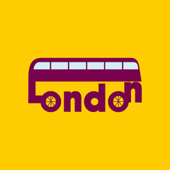 London bus. London creative text. T-shirt design