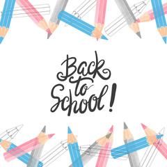 Welcome back to school vector illustration with pencils.