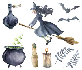 Watercolor magic set. Hand painted witch on broomstick, bottle of poison, cauldron with potion, broom, candle, finger, bats and floral branches isolated on white background. Halloween illustration.
