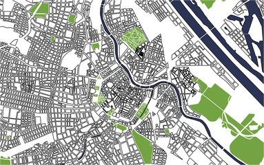 vector map of the city of Vienna, Austria