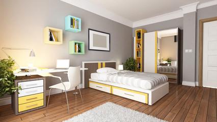 teen young bedroom design idea 3d rendering