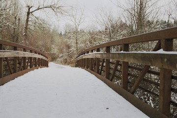 Close, Eye Level Angular View of Snow Covered Wooden Bridge in Wooded Area, Ovrcast Pale Blue Sky, Daytime