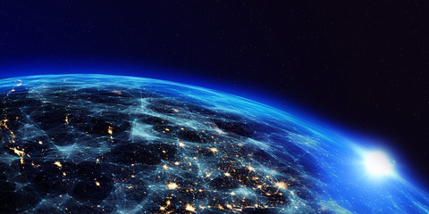 Earth from space at night with a digital communication system/Earth from space at night with a digital communication system. Some elements of the image provided by NASA.