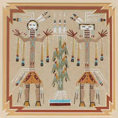 Illustration of native american sand art