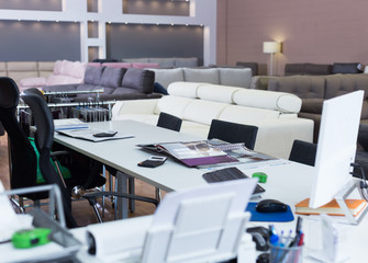 Image of modern workplace in sofas store