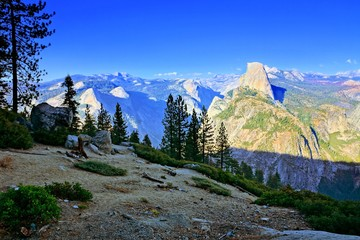 Fototapete - Yosemite National Park, view of Half Dome from Glacier Point at dusk, California, USA