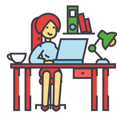 Woman working on the office table, office interior, freelancer concept. Line vector icon. Editable stroke. Flat linear illustration isolated on white background