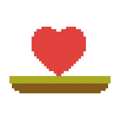 colorful pixelated heart in meadow